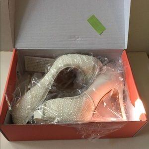 63042594a8f1 De Blossom Collection Shoes - Eternity Pearl Bridal Peep Toe High Heel Shoe  Nude